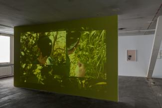 Basel Abbas and Ruanne Abou-Rahme  And yet my mask is powerful, , 2016  projection on wall variable, one channel video  8:25 min   Courtesy of the Artist     Nona Inescu  Conversation with a stone, 2016  Framed archival print on Hahnemuhle paper, Passepartout  20 x 30 cm / 60 x 80 cm   Courtesy of the Artist and SpazioA